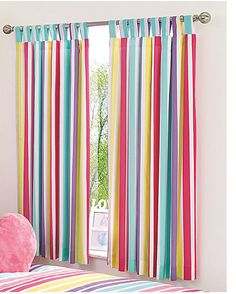 KIDS BRIGHT STRIPE CURTAINS BED COLOURFUL BEDROOM ROOM CHILDRENS STRIPEY STRIPES