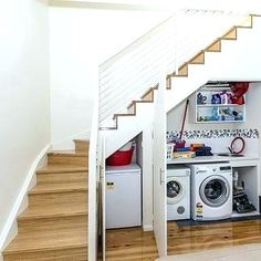 under stairs laundry room laundry under stairs ideas contemporary staircase laundry room design ideas pictures remodel laundry room ideas under stairs upstairs laundry room floor drain Room Under Stairs, Basement Stairs, House Stairs, Toilet Under Stairs, Staircase Storage, Staircase Design, Storage Under Stairs, Modern Staircase, Laundry Room Design