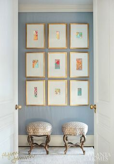 The many looks of Minis! Small abstract art on canvas in gold frames
