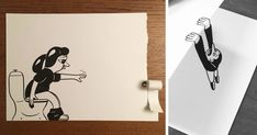 Danish artist, HuskMitNavn, has taken his playful black-and-white drawings of things as simple as opening a can of food, or as frustrating as running out of toilet paper, and brought them to life as incredible pieces of 3D cartoons on one sheet of paper.