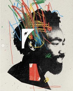 Portraits of Donald Glover ( by Graphic Design Brochure, Graphic Design Posters, Graphic Design Typography, Graphic Design Illustration, Graphic Design Inspiration, Game Design, Web Design, Collage Design, Collage Art