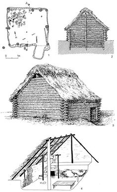 "Reconstruction of the early Slavic pit houses discovered in Desau-Mosigkau, Saksony, Germany [pic and Roztoky, Czech Republic [pic Source: Sebastian Brather ""Archäologie der westlichen Slawen"", 2008 [online read]. Viking House, Viking Life, Bushcraft Gear, Bushcraft Camping, Medieval Houses, Survival Shelter, Ancient Architecture, Gothic Architecture, Iron Age"