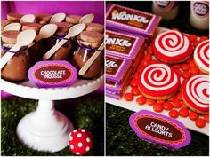 Colorful Willy Wonka Birthday Party! on http://pizzazzerie.com