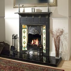 Cast iron fireplace with Art Nouveau tiles