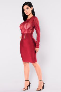dbd2acb621a fashion · Available In Black And Burgundy Mesh Lace Long Sleeve Top Bandage  Dress Lace Up Waist Detail