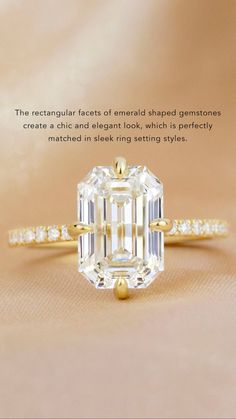 The rectangular facets of emerald shaped gemstones create a chic and elegant look, which is perfectly matched in sleek ring setting styles.   #BrilliantEarth #Yellowgold #emeraldiamond #emeraldcutdiamond #stepcutdiamond #compassprongring #womensring #proposal #engagement #engagementring #diamondring #sparkle #ido #uniquering Emerald Cut Diamonds, Diamond Cuts, Gold Engagement Rings, Engagement Photos, Wedding Stuff, Dream Wedding, Engagement Inspiration, Brilliant Earth, Phone Wallpapers