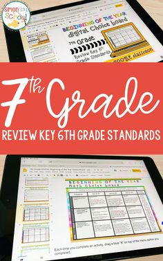 These middle school math back to school activities can be a great way for 7th grade math teachers to do a 6th grade math review before moving on to 7th grade common core math standards. On each math choice board, students can choose fun 7th grade math projects to complete that will serve as a review of the past year's key math concepts and math skills. #middleschoolmath #7thgrademath #mathreview
