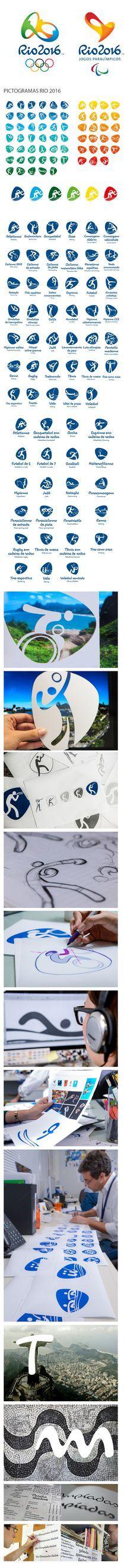 #DESIGN #PICTOGRAMAS | Lançados os pictogramas esportivos para as Olimpíadas de 2016 no Rio de Janeiro. Os ícones seguem a mesma linguagem da tipografia dos Jogos mantendo o estilo com linhas de traço único, inspiradas nos marcos da cidade do Rio de Janeiro. Ambas criações são do estúdio Dalton Maag. Para saber mas confira o site oficial Rio 2016.