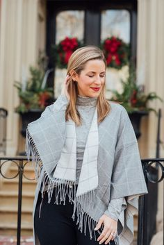 8d023fe5c3 Gray Plaid Cape - Boston Chic Party Casual Winter Outfits, Autumn Fashion  Casual, Cold