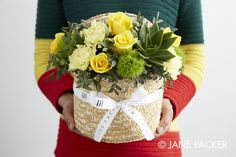 """""""Pineapple"""" Hat box arrangement from the Jane Packer Online Collection - Summer Fruits 2016"""