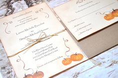 Beautiful Rustic Fall Pumpkin Wedding Invitations. These invitations feature water color pumpkins and a rustic burnt edge look around the edges