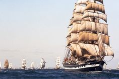 The Kruzenshtern departing the port of Cadiz, during the Quincentennial celebration Tall Ships Race in 1992 Tall Ships Race, Master And Commander, Yacht Boat, Armada, Cadiz, Urban Landscape, Sailing Ships, Canvas Prints, Fine Art