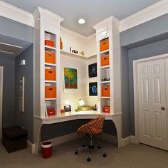 corner desk with built in shelving