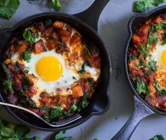 Chorizo Butternut Pizza Hash with Baked Eggs
