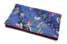Porte-chéquier en tissu japonais papillons bleu et rose