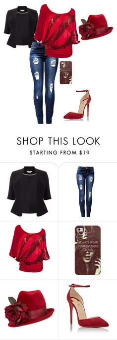 """Ripped Jeans"" by princess976 on Polyvore featuring Studio 8, Casetify, Philip Treacy, Christian Louboutin and rippedjeans"