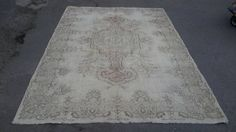 White overdyed rug.natural colour wool Turkish by turkishrugman $429