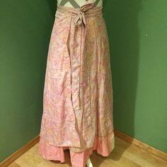 🌸🌸 Pink Sari Skirt 🌸🌸 Beautiful wrap skirt made from sari. It is silk, made in India. Jackpot Skirts Maxi