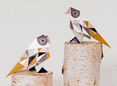 Pack of three origami Birds with pattern print par brittamanger, €8,90