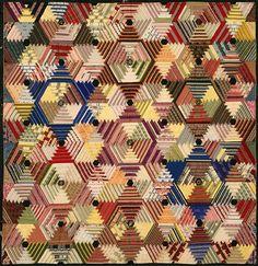Hexagonal Log Cabin Quilt, Jane Tucker, 1890, Maine