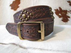 Rusty Spur Couture Justin Bent Rail Vintage Tooled Leather Belt - C11838, ,