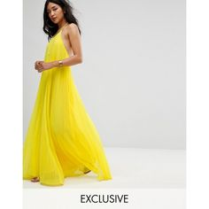 Missguided Pleated Maxi Dress ($56) ❤ liked on Polyvore featuring dresses, yellow, halter crop tops, halter neck maxi dress, yellow bodycon dress, pleated dress and maxi dress
