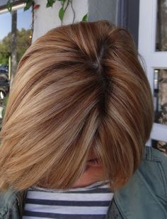 Golden copper with blonde highlights. Strawberry blonde hues. Checkout other colors.
