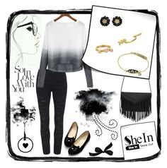 """Black heart"" by marcellakretsch ❤ liked on Polyvore featuring Kate Spade, Gorjana, women's clothing, women, female, woman, misses and juniors"