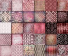 Christmas Red  PInk Vintage  Digital Papers  12 x 12 sheets damask  Decoupage,  texture pa... $10