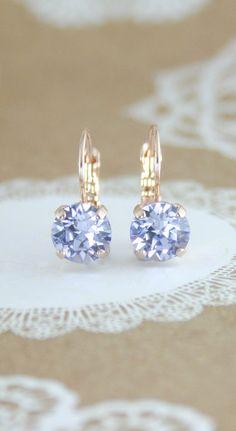 Lavender crystal earrings   Swarovski Provence Lavender crystal earrings   rose gold crystal earrings   lavender wedding   bridesmaid earrings   bridal earrings   www.endorajewellery.etsy.com