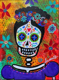 Unique Junktique: Tuesday's Top 5 Favorite Junk Finds -8 Featuring Day Of The Dead Art Frida Kahlo by Pristine Cartera Turkus @ Prisarts on Etsy