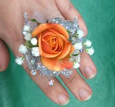 Fresh spray rose corsage ring for prom or wedding