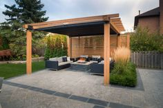 Pergola With Retractable Shade Canopy - Pergola Gazebo Ideas Backyard Shade, Backyard Gazebo, Backyard Privacy, Pergola Canopy, Outdoor Pergola, Pergola Shade, Diy Pergola, Outdoor Spaces, Pergola Ideas