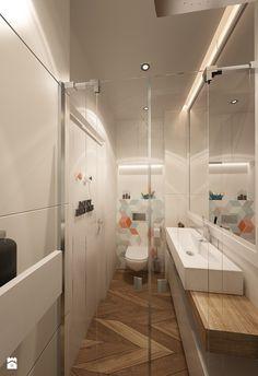 Mała łazienka z kolorowym akcentem - zdjęcie od art inside - studio projektowania wnętrz i ogrodów - Łazienka - Styl Nowoczesny - art inside - studio projektowania wnętrz i ogrodów