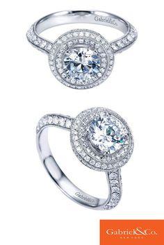 Gabriel & Co. - 14k White Gold Diamond Halo Engagement Ring.