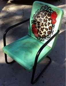 Metal Lawn Chair With Leopard