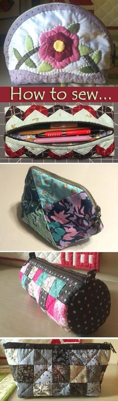 Simple cosmetic bags, patchwork. How to Sew Photo Sewing Tutorial. http://www.handmadiya.com/2016/04/simple-cosmetic-bags-purses-patchwork.html