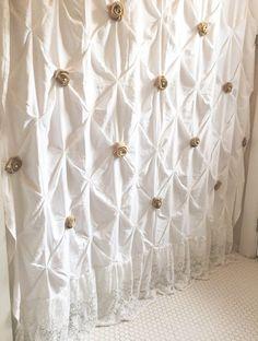 White Shower Curtain with Ruffles Custom Pin Tuck Shabby Chic - Hallstrom Home - 1