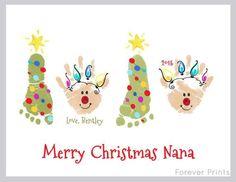 Christmas tree footprint & reindeer handprint