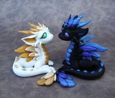 Opposites Attract Dragon Couple - White and Blue