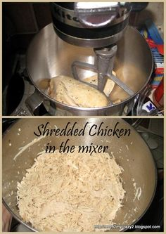 Shredded Chicken in mixer ... Works really really well. Cook chicken, and shred in mixer while still hot.  Great for tacos, chicken salad, etc. so much quicker than with forks or fingers