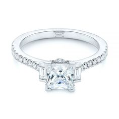 This unique engagement ring features a princess cut diamond framed by a bar set baguette diamond on each side with split prong diamonds set down the sides and on the gallery rail. Designed and created by Joseph Jewelry Baguette Engagement Ring, Princess Cut Engagement Rings, Diamond Engagement Rings, Design Your Own Engagement Rings, Aquamarine Gemstone, Bar Set, Baguette Diamond, Princess Cut Diamonds, Diamond Shapes