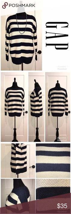 """⚓️Striped Sweater⚓️ Gap Striped Sweater NWT Size XL Color/Pattern Navy Blue & Cream Stripes  🔴Mannequin's measurements  📌Chest 39"""" 📌Waist 33"""" 📌Hips 40 1/2""""  💰Bundle Your Likes (even just one item) for a Private Discount💰 🌸reasonable offers accepted🌸  🐾pet friendlly home🐾 🚫no trades🚫 GAP Sweaters"""