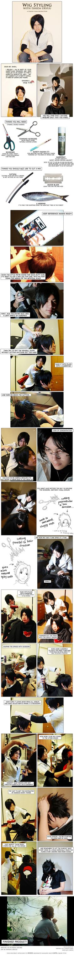 Wig Styling with Ishida Uryuu by *behindinfinity on deviantART Excellent tutorial on  creating spikes.
