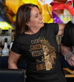 Women's Matching Lion T Shirt Couples Shirt Matching Lion Lioness Shirt Queen Shirt Every Queen Needs King Shirt King Shirt, T Shirt, Lion And Lioness, Cotton Gifts, Couple Tshirts, Matching Shirts, Curves, Queen, Latest Technology