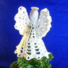 Mini Tree Top Angel free crochet pattern - Free Crochet Tree Topper Patterns - The Lavender Chair Christmas Tree Tops, Christmas Crochet Patterns, Crochet Christmas Ornaments, Holiday Crochet, Christmas Angels, Christmas Crafts, Crochet Star Patterns, Crochet Snowflake Pattern, Crochet Snowflakes