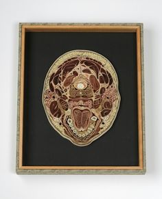Transverse head tongue Mulberry paper collage with mixed media box and antique glass 16 x 6 1/2 x 6 1/4 inches