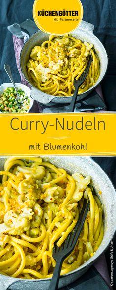 Schnelle One-Pot-Rezept für Curry-Nudeln mit Blumenkohl.