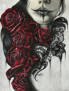 love the roses in the sugar skulls hair!