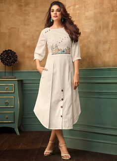 Latest indian party wear kurti for women. Shop online in india, uk, usa, canada. Grab this cotton satin thread work work party wear kurti. Simple Kurti Designs, New Kurti Designs, Kurta Designs Women, Kurti Designs Party Wear, Designs For Dresses, Design Of Kurti, Party Wear Kurtis, Sleeve Designs For Kurtis, New Party Wear Dress